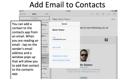 Add email to Contacts